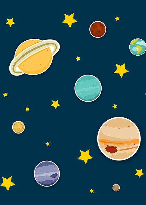 Planets Greeting Card featuring the digital art The Planets by Christy Beckwith