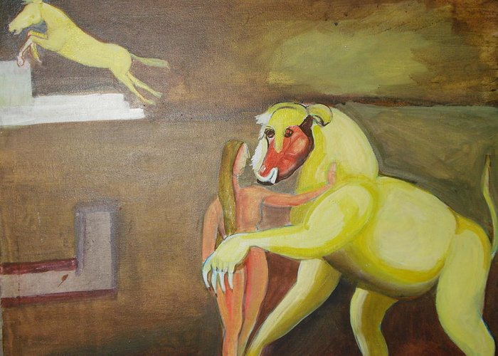 Horse Greeting Card featuring the painting The Play by Prasenjit Dhar