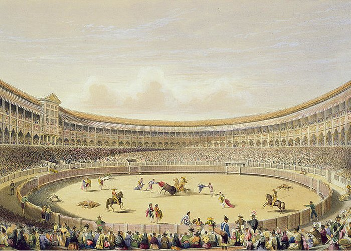 Bullfighting Greeting Card featuring the drawing The Plaza De Toros Of Madrid, 1865 by William Henry Lake Price