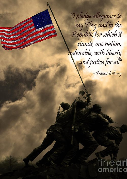 Iwo Jima Greeting Card featuring the photograph The Pledge Of Allegiance - Iwo Jima 20130211v2 by Wingsdomain Art and Photography