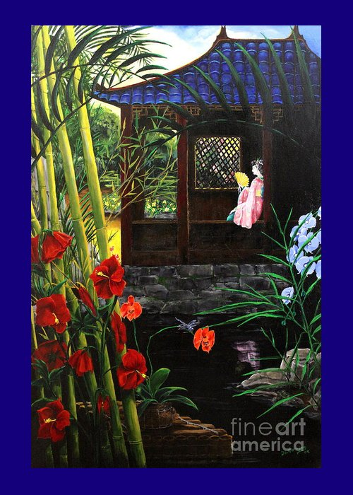 Dlgerring Greeting Card featuring the painting The Pond Garden by D L Gerring
