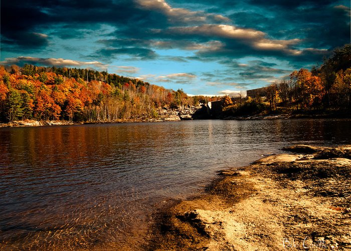 Clouds Greeting Card featuring the photograph The Pool Below Upper Falls Rumford Maine by Bob Orsillo