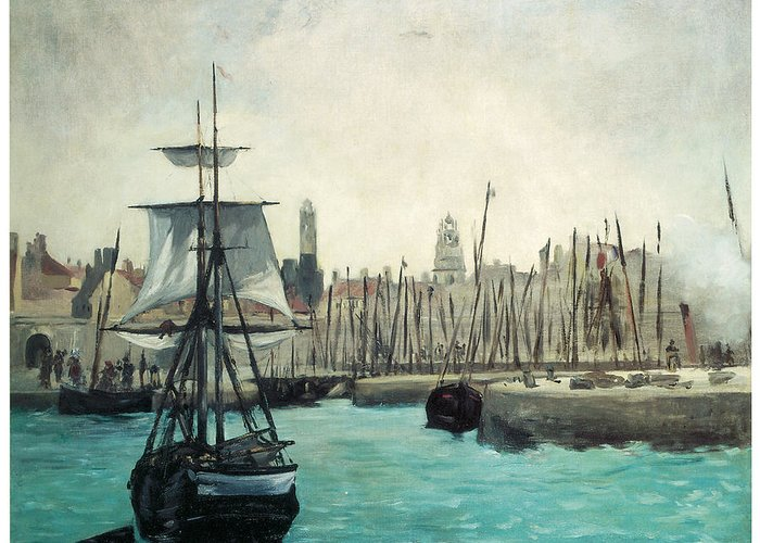 Edouard Manet Greeting Card featuring the painting The Port At Calais by Edouard Manet