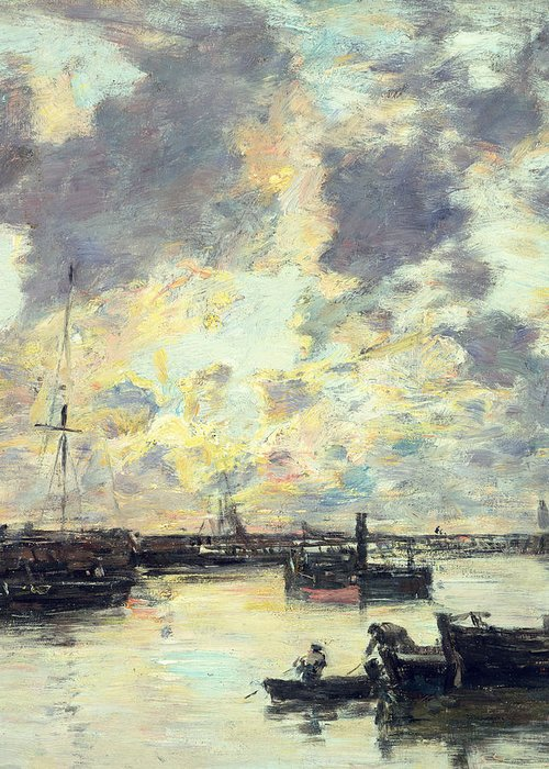 Boat Greeting Card featuring the painting The Port by Eugene Louis Boudin