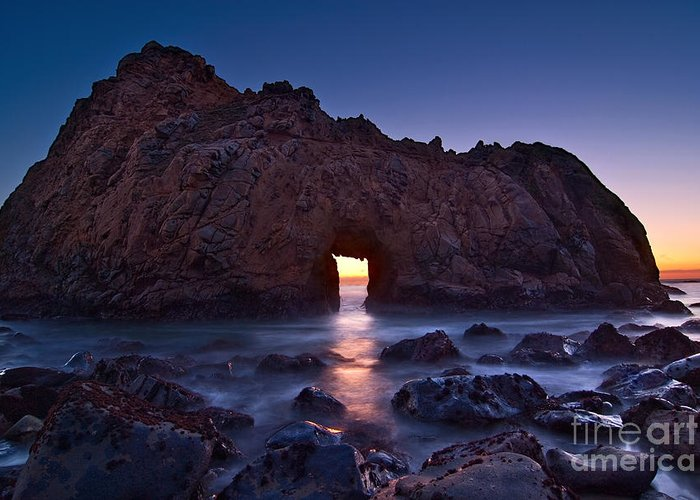 Arch Rock Greeting Card featuring the photograph The Portal - Sunset On Arch Rock In Pfeiffer Beach Big Sur In California. by Jamie Pham