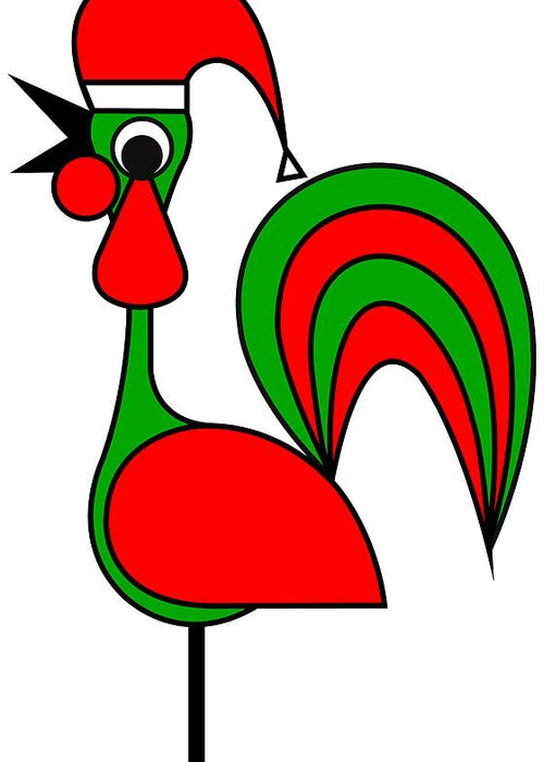 The Portoguise Rooster Son Of Santa Claus Wishes You A Happy Chrismas Greeting Card featuring the digital art The Portoguise Rooster son of Santa Claus wishes you a Happy Chrismas by Asbjorn Lonvig