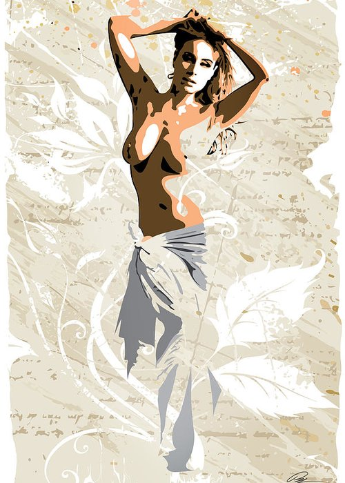 Nude Greeting Card featuring the digital art The Pose 2 by Paul Miners