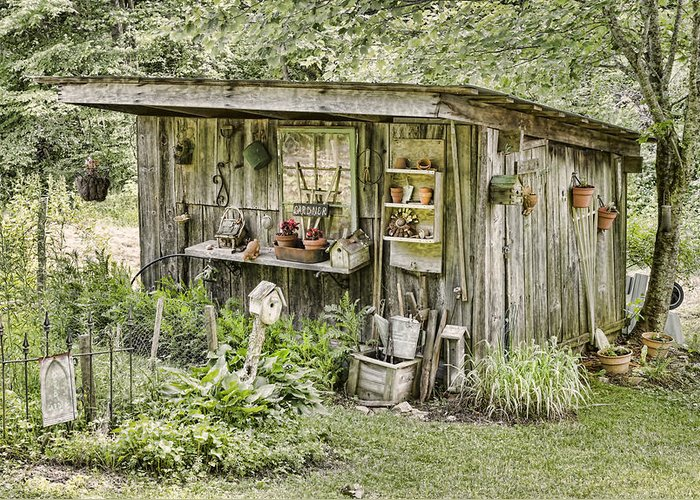 Gardener Greeting Card featuring the photograph The Potting Shed by Heather Applegate