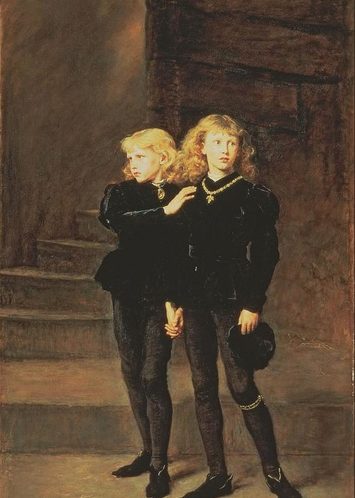 Imprisoned Greeting Card featuring the painting The Princes Edward And Richard by Sir John Everett Millais