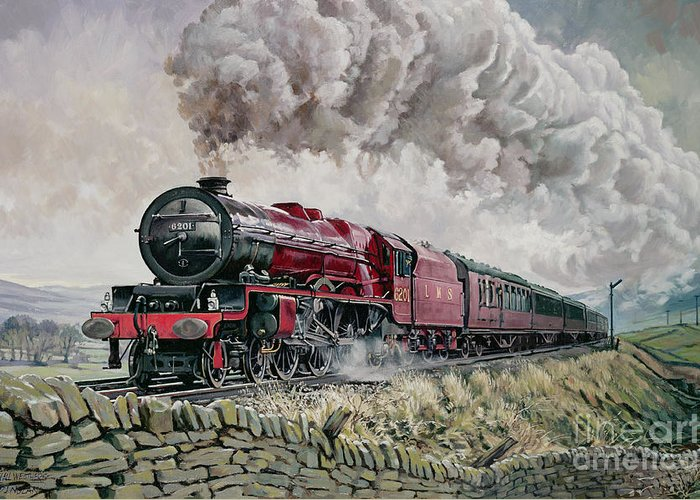 Train Greeting Card featuring the painting The Princess Elizabeth Storms North In All Weathers by David Nolan