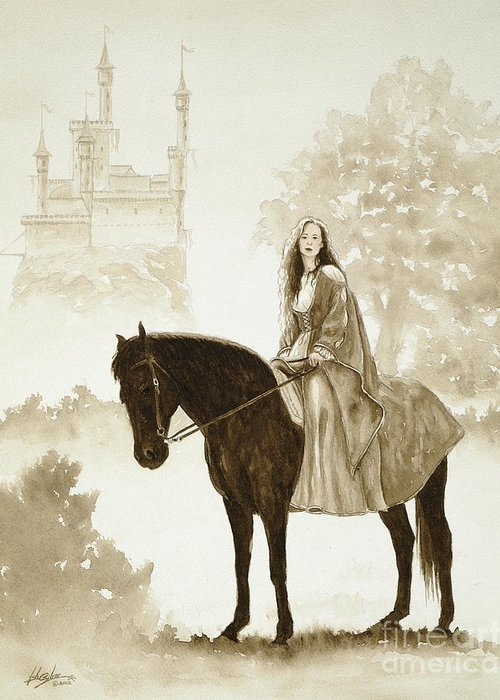 Fantasy Greeting Card featuring the painting The Princess Has A Day Out. by John Silver