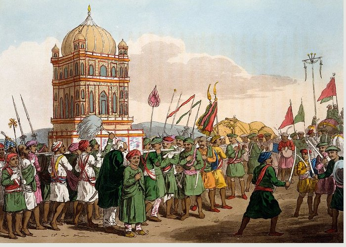 Mahratta Greeting Card featuring the drawing The Procession Of The Taziya, From The by Deen Alee