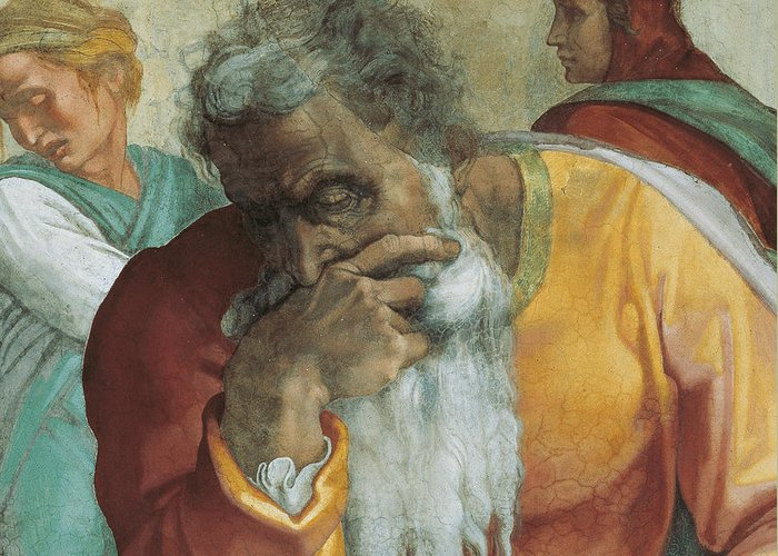 Old Greeting Card featuring the painting The Prophet Jeremiah by Michelangelo