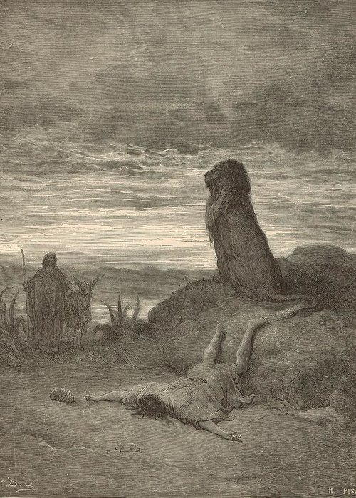Biblical Greeting Card featuring the painting The Prophet Slain By A Lion by Antique Engravings