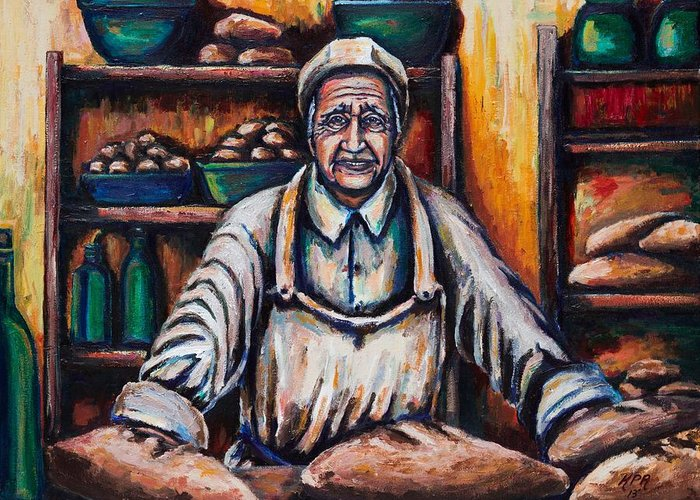 Baker Greeting Card featuring the painting The Proud Baker by Kevin Richard