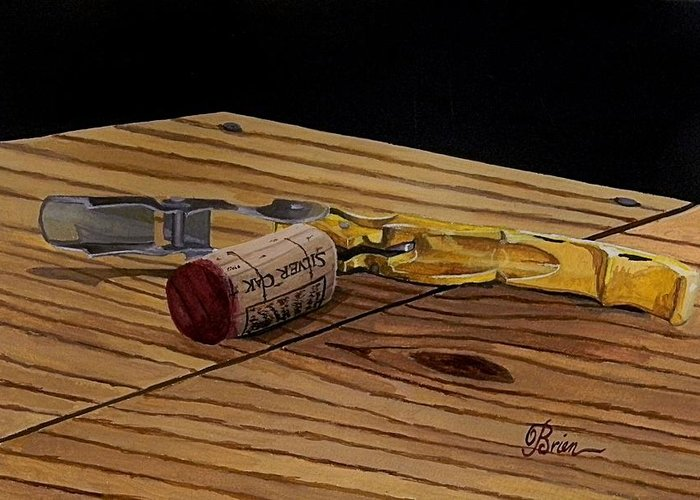 Wine Art Greeting Card featuring the painting The Pull by Brien Cole