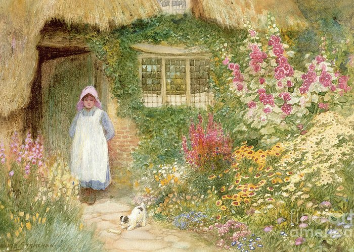 Cottage; Thatched; Garden; Flowers; Girl; Female; Dog; Foxgloves; Window; Quaint; Rural; Bone; Bonnet; Pinafore Greeting Card featuring the painting The Puppy by Arthur Claude Strachan