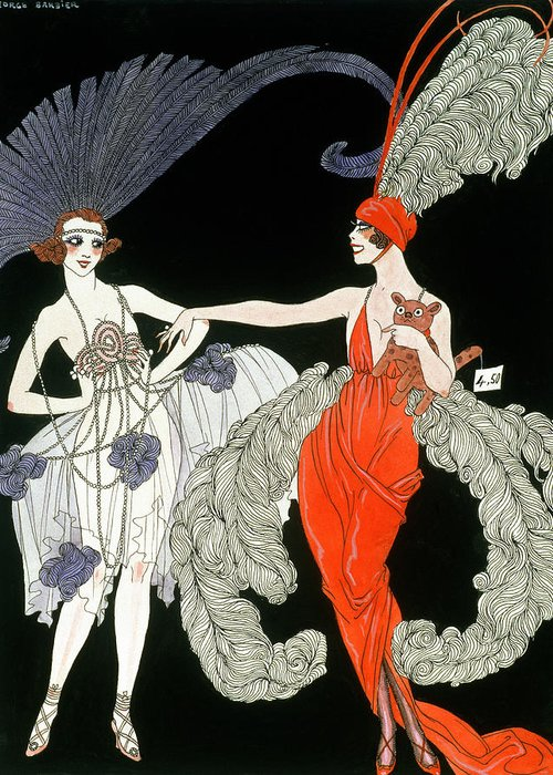 Female Greeting Card featuring the painting The Purchase by Georges Barbier