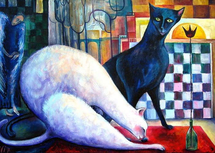 Cat Greeting Card featuring the painting The Queen And The Knight. Chess Of Love by Elisheva Nesis