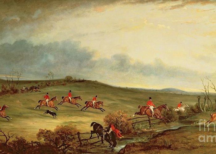 Fox Hunting Greeting Card featuring the painting The Quorn In Full Cry Near Tiptoe Hill by John E Ferneley