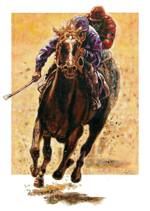 Horse Greeting Card featuring the painting The Race by John Lautermilch
