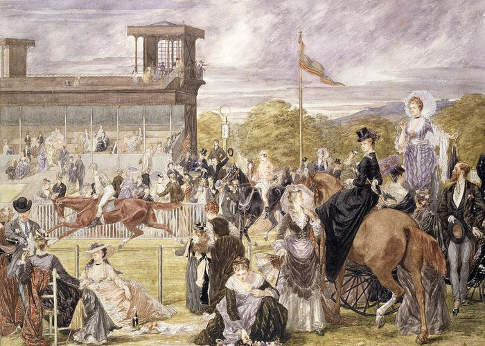 Race Course Greeting Card featuring the painting The Races At Longchamp In 1874 by Pierre Gavarni