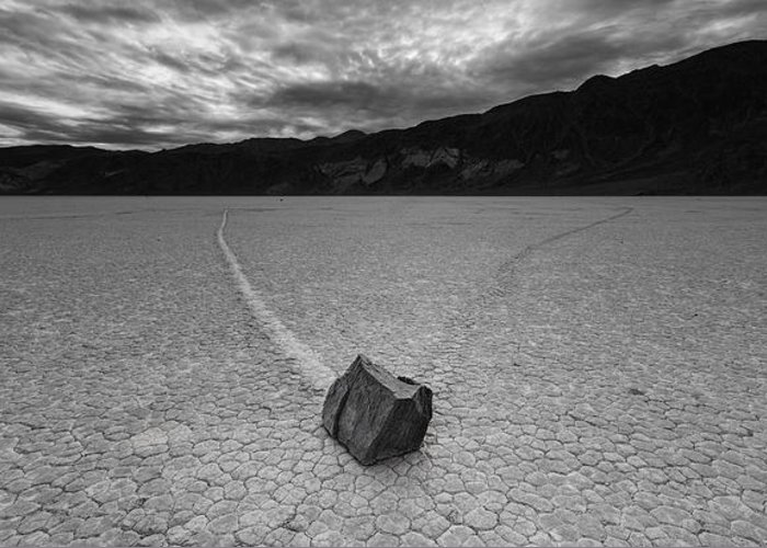Death Valley Greeting Card featuring the photograph The Racetrack #6 -panoramic by Art Morgan