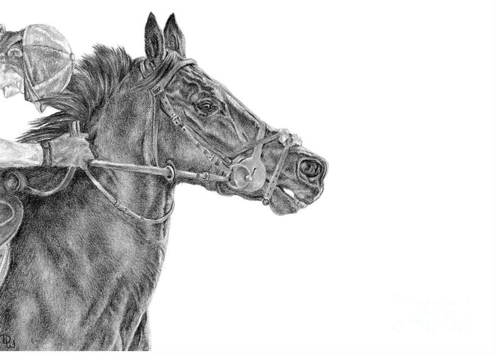 Racehorse Greeting Card featuring the drawing The Racing Game by Pencil Paws