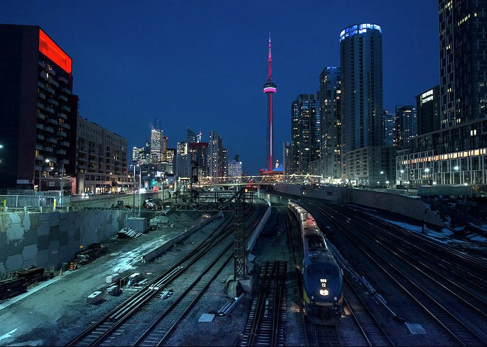 Train Greeting Card featuring the photograph The Railway Lands Toronto by This Image