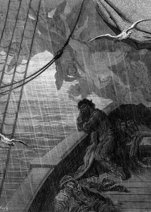 Raining; Sailors; Sailor; Vessel; Ship; Sea; Dore Greeting Card featuring the drawing The Rain Begins To Fall by Gustave Dore