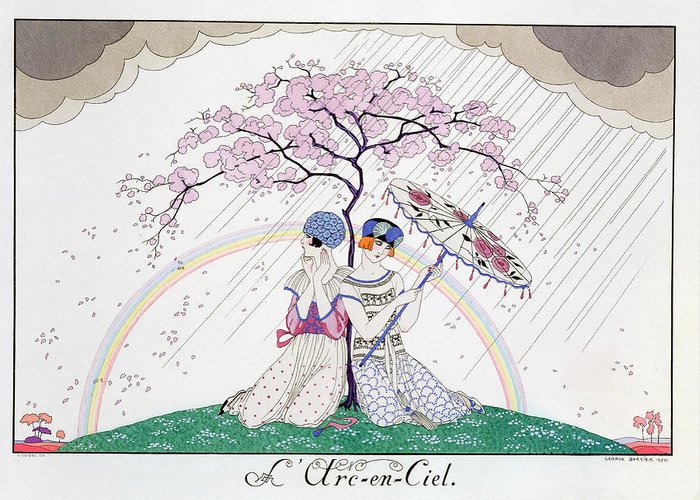 Print Greeting Card featuring the painting The Rainbow by Georges Barbier