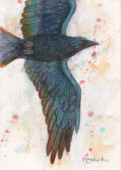 Raven Greeting Card featuring the painting The Rainbow Thief by Tahirih Goffic