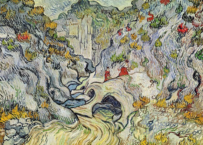 Landscape Greeting Card featuring the painting The Ravine Of The Peyroulets by Vincent van Gogh
