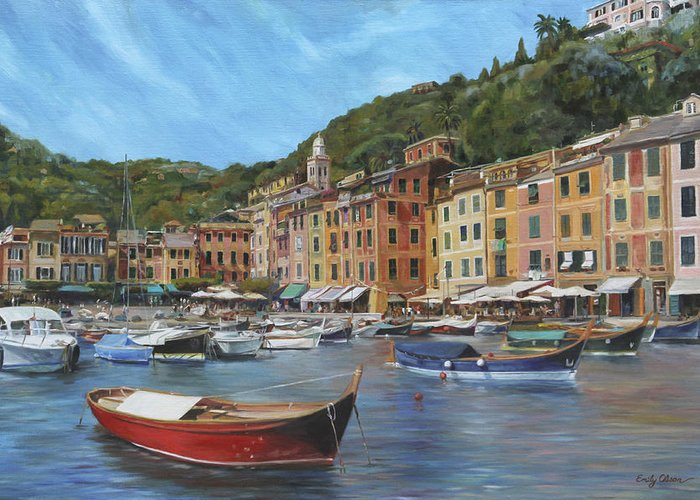 Portofino Greeting Card featuring the painting The Red Boat by Emily Olson