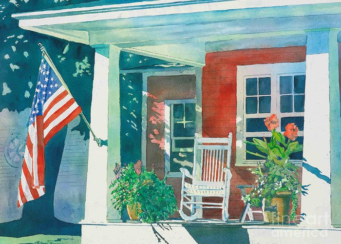 Pentwater Greeting Card featuring the painting The Red Cottage by LeAnne Sowa