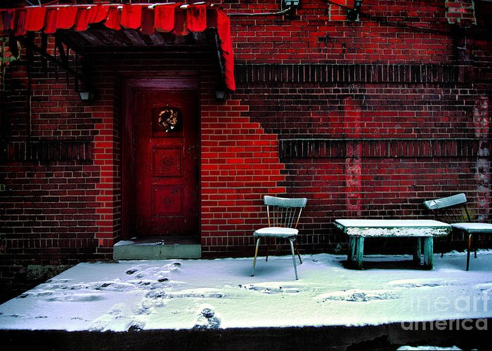 Awning Greeting Card featuring the photograph The Red Door by Amy Cicconi
