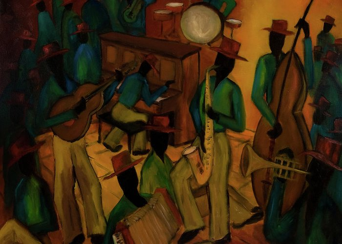 Jazz Greeting Card featuring the painting The Red Hat Octet And Friends by Larry Martin