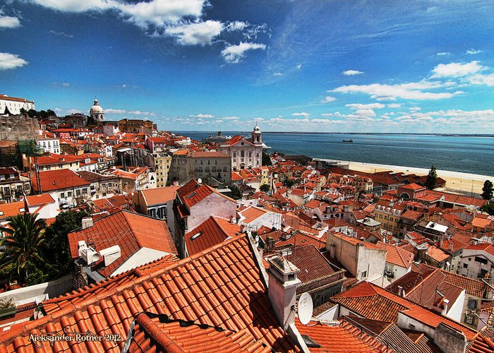 Lisbon Greeting Card featuring the photograph The Red Roofs Of Lisbon #2 by Aleksander Rotner