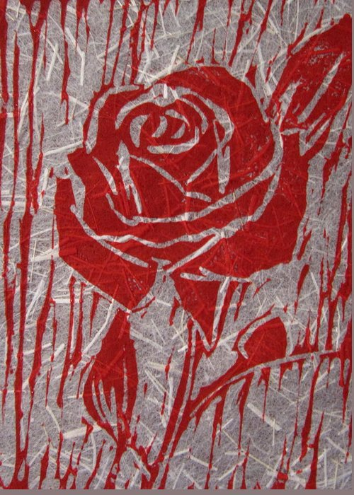 Red Rose Greeting Card featuring the relief The Red Rose by Marita McVeigh