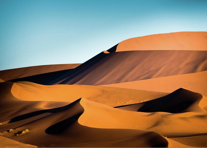 Sand Dune Greeting Card featuring the photograph The Red Sand Dunes In Namibia by José Gieskes Fotografie