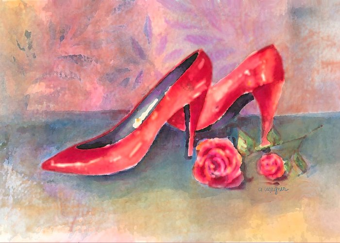Shoe Greeting Card featuring the painting The Red Shoes by Arline Wagner