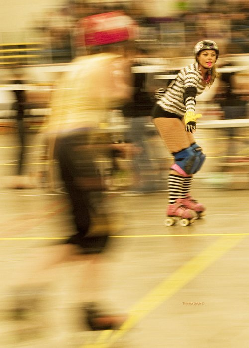 Roller Derby Greeting Card featuring the photograph The Ref by Theresa Tahara