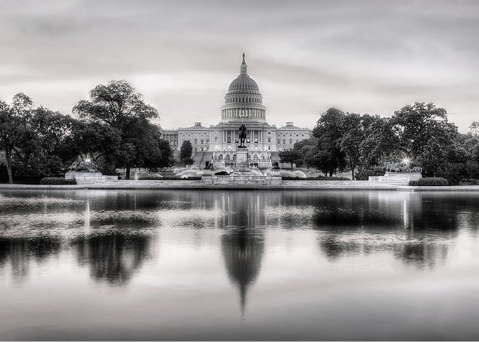 Capital Greeting Card featuring the photograph The Republic Awakens Bw by JC Findley