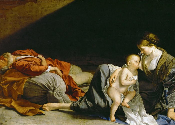 Orazio Gentileschi Greeting Card featuring the painting The Rest On The Flight Into Egypt by Orazio Gentileschi
