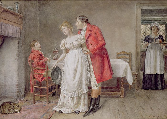 Hunter; Interior; Maid; Embrace; Hunting Jacket; Riding Boot; Apron; Hearth; Male; Female; Spur; Cat Greeting Card featuring the painting The Return Of The Huntsman by George Goodwin Kilburne