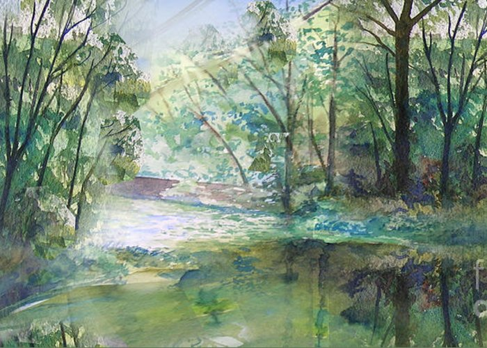 River Greeting Card featuring the painting The River Going Out From The Forest by Christian Simonian