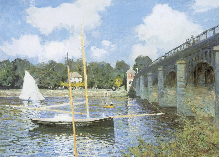 The Road Bridge At Argenteuil Greeting Card featuring the painting The Road Bridge At Argenteuil by Claude Monet