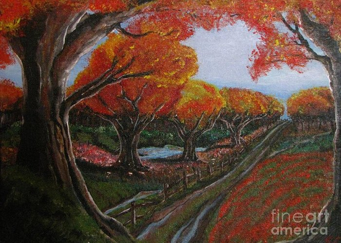 Impressionistic Landscape. Fall Greeting Card featuring the painting The Road Home by Erik Coryell