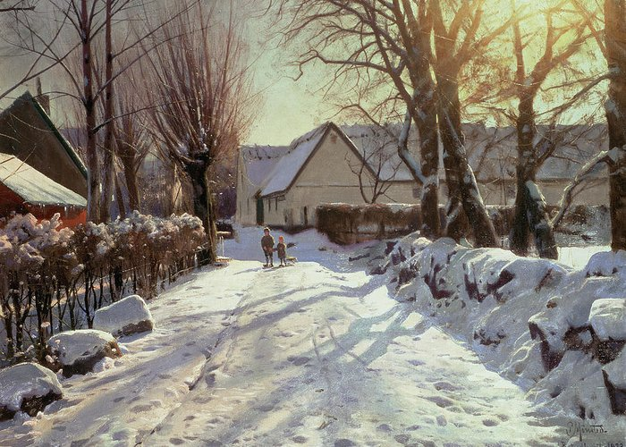 Winter Greeting Card featuring the painting The Road Home by Peder Monsted