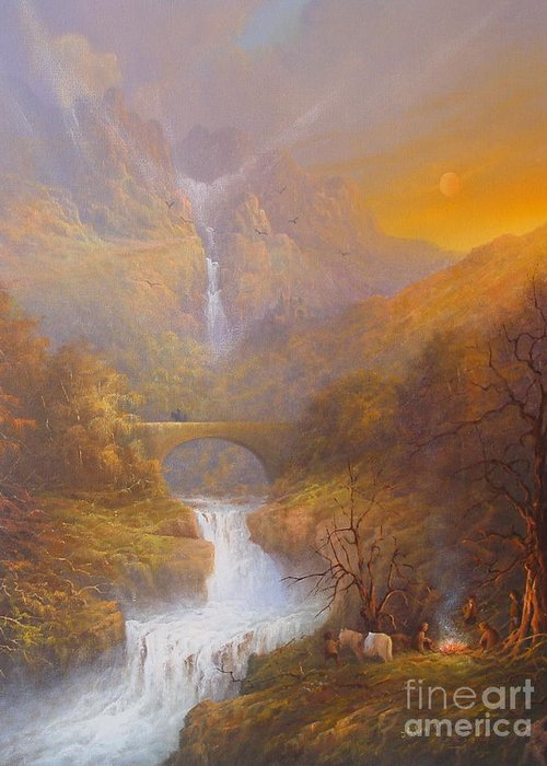Tolkien Greeting Card featuring the painting The Road To Rivendell The Lord Of The Rings Tolkien Inspired Art by Joe Gilronan